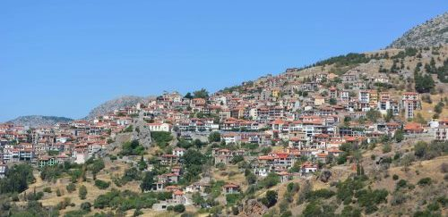 day time arahova hill houses Greece