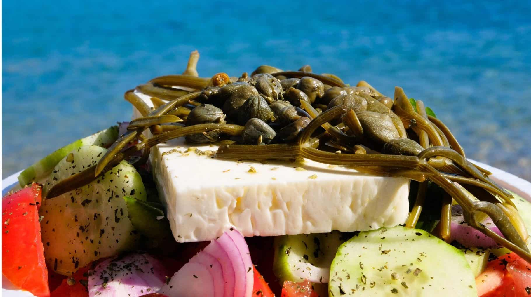 close up of Greek salad with feta cheese in Chios island Greece