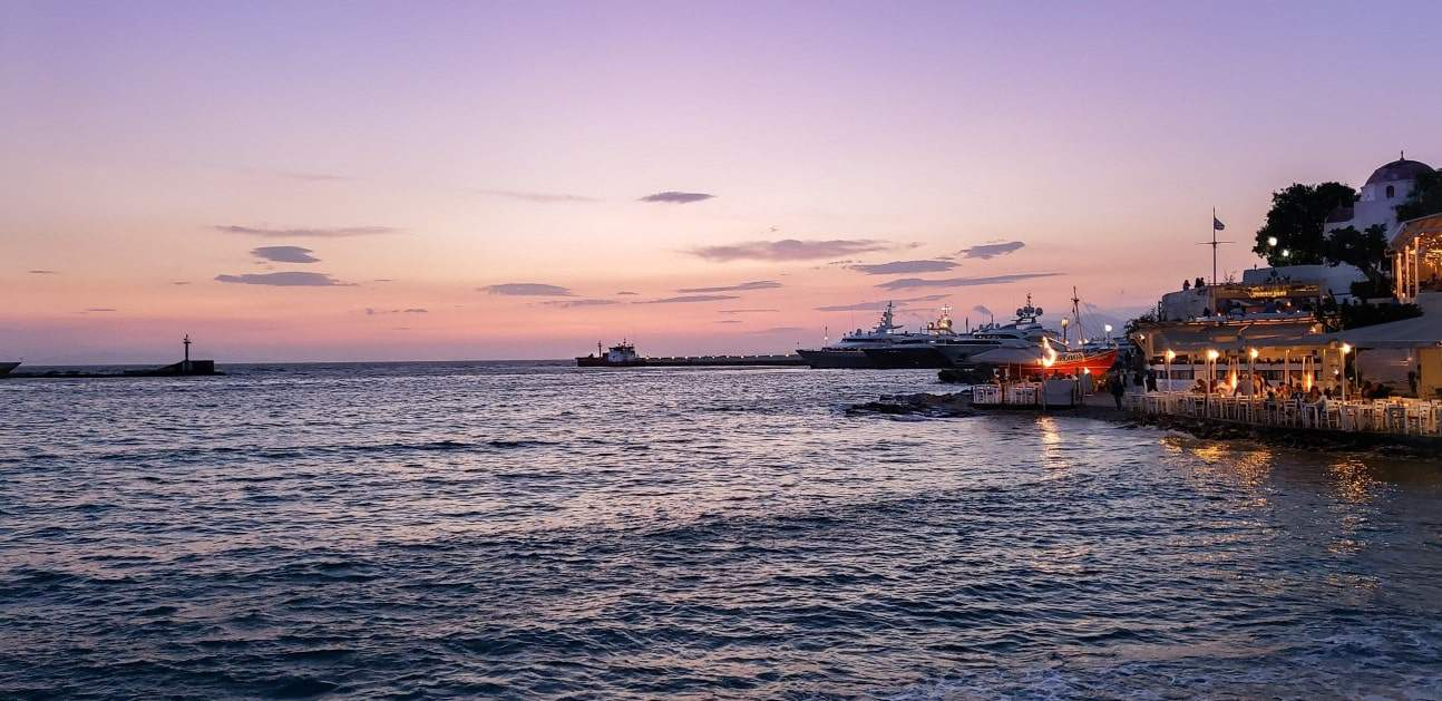 mykonos sunset port harbour boats