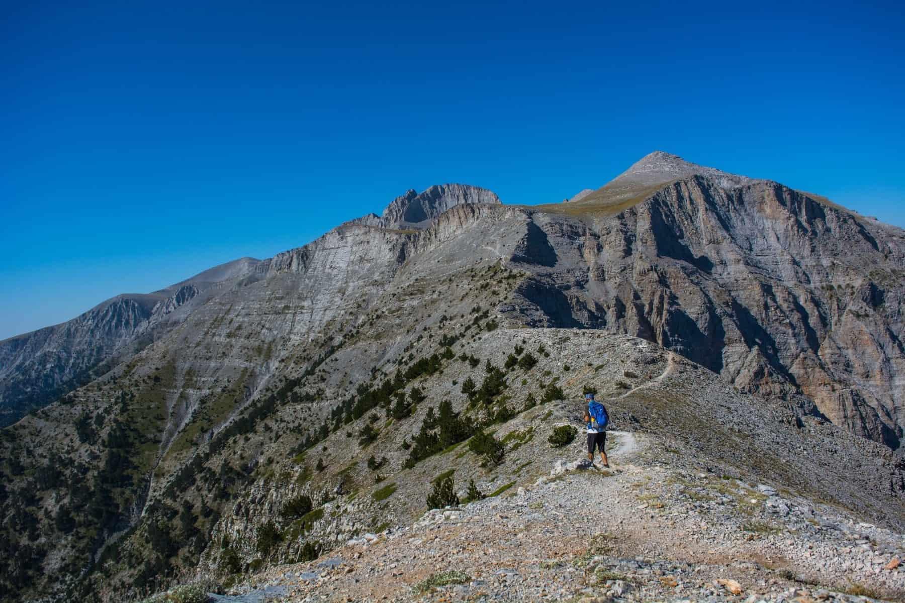 nature lovers activities - mount olympus - seat of zeus - rocks and hiker
