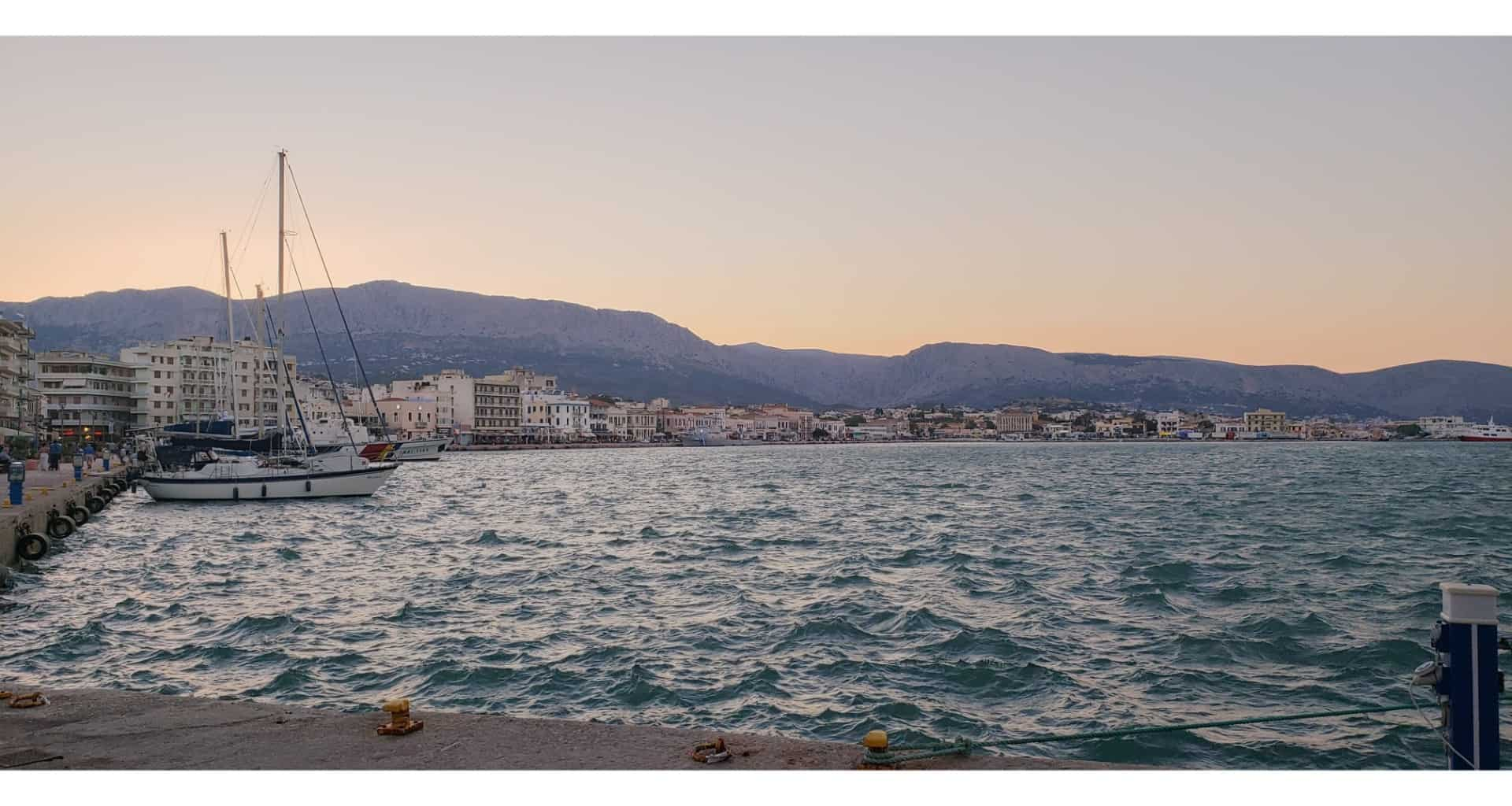 dusk at port in Chios island Greece