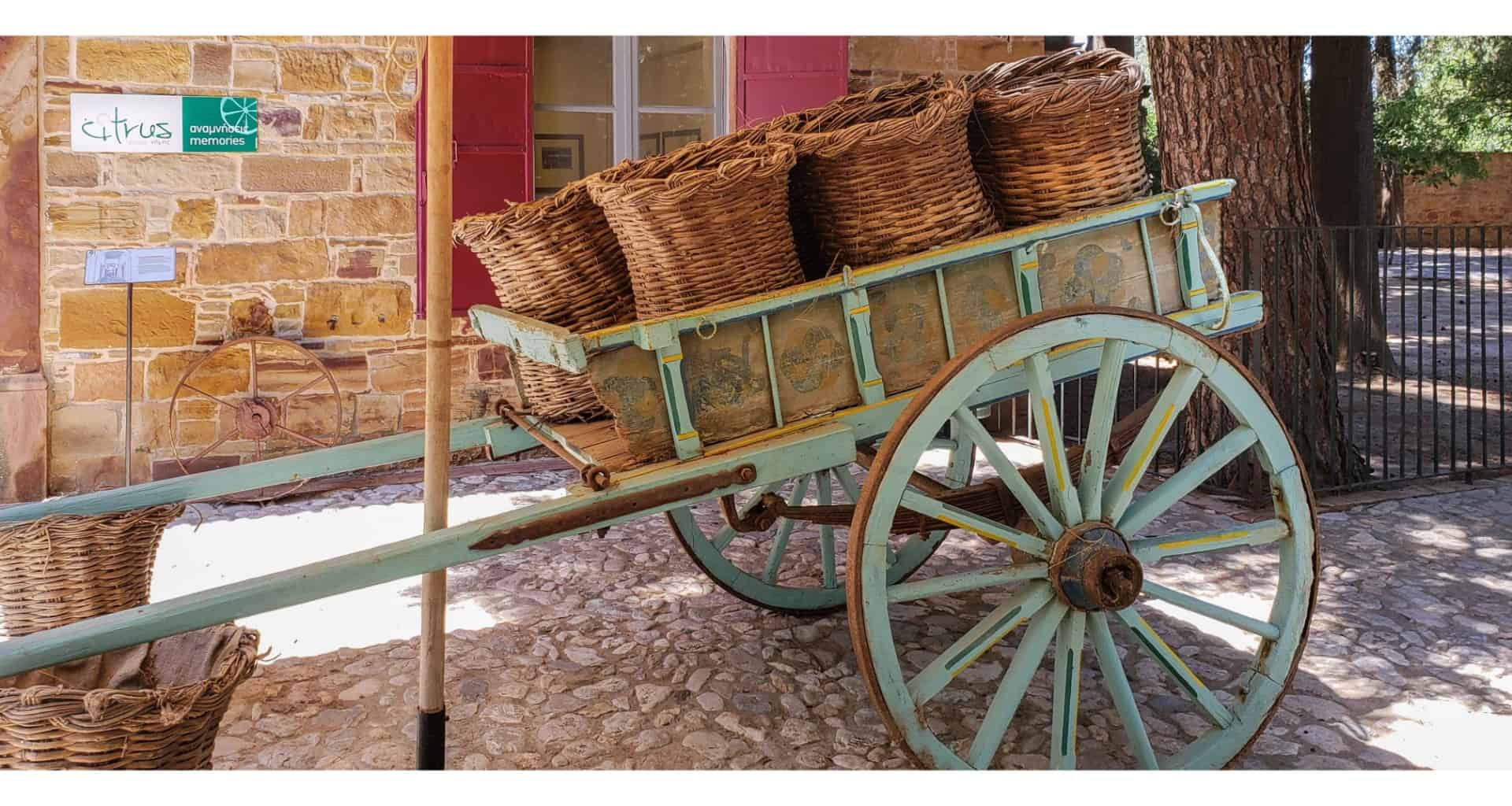 a cart with woven baskets in Chios island Citrus Museum Greece