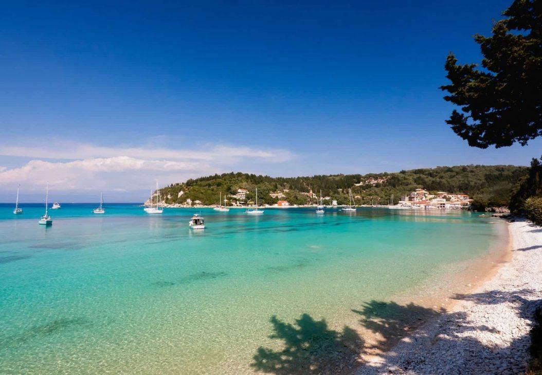 clear blue beach in Greek islands Paxos Antipaxos