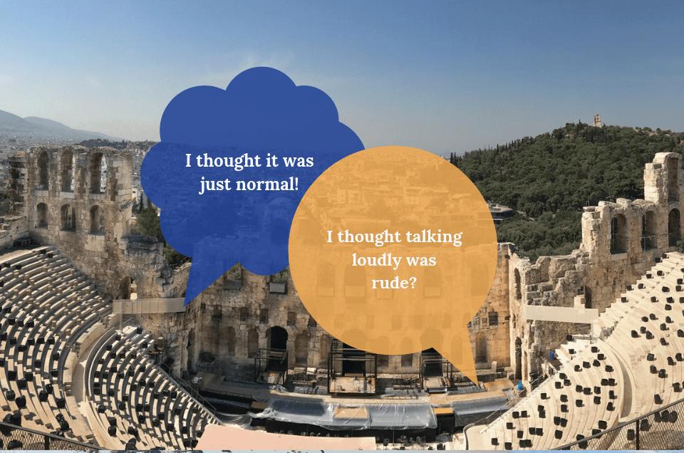 greeklish - miscommunication in Greece background of herodotus atticus and two speech bubbles