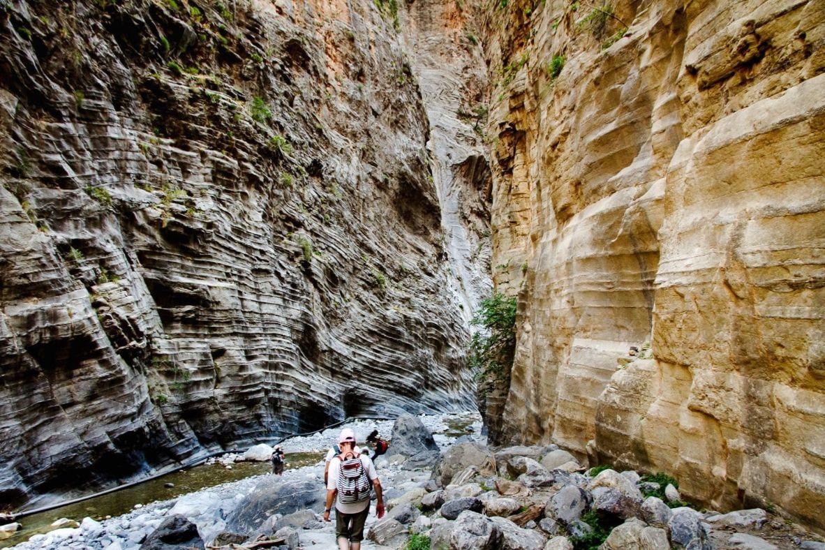 Man walking in gorge - Crete island Greece