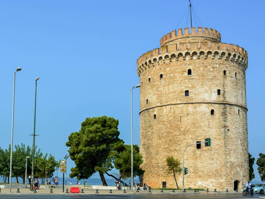 Thessaloniki White Tower Blue Sky