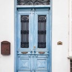 door blue Amfissa Central Greece
