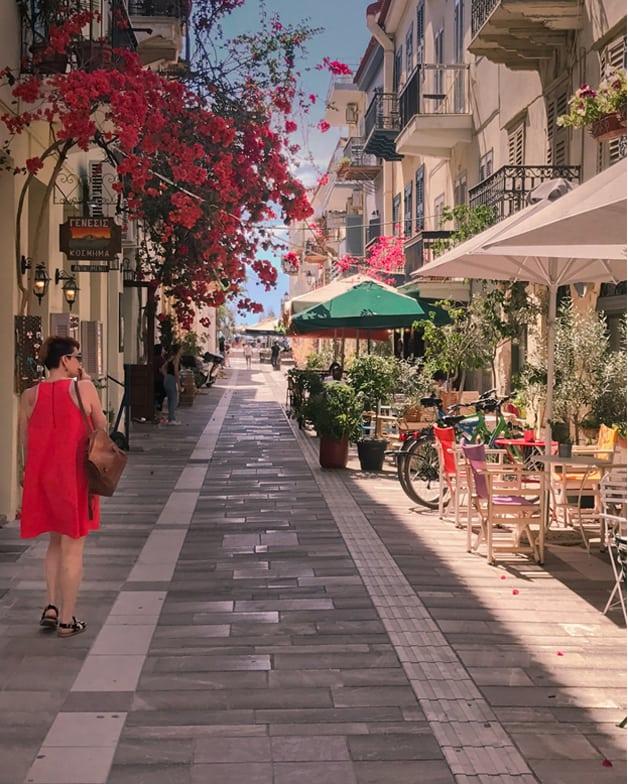 Nelly Walking in Nafplio Street
