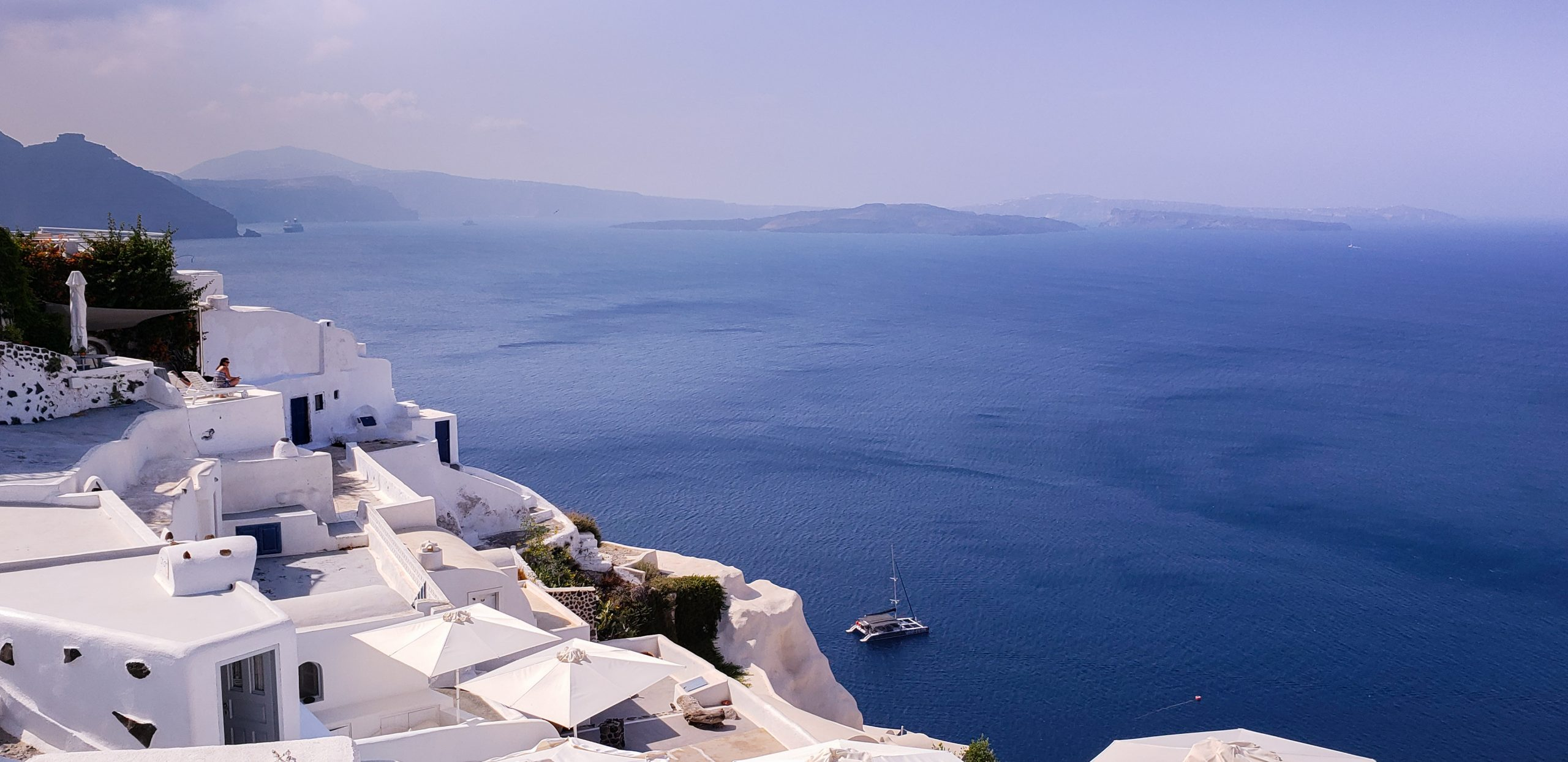 Santorini Blue and White Houses Caldera View Summer 2018