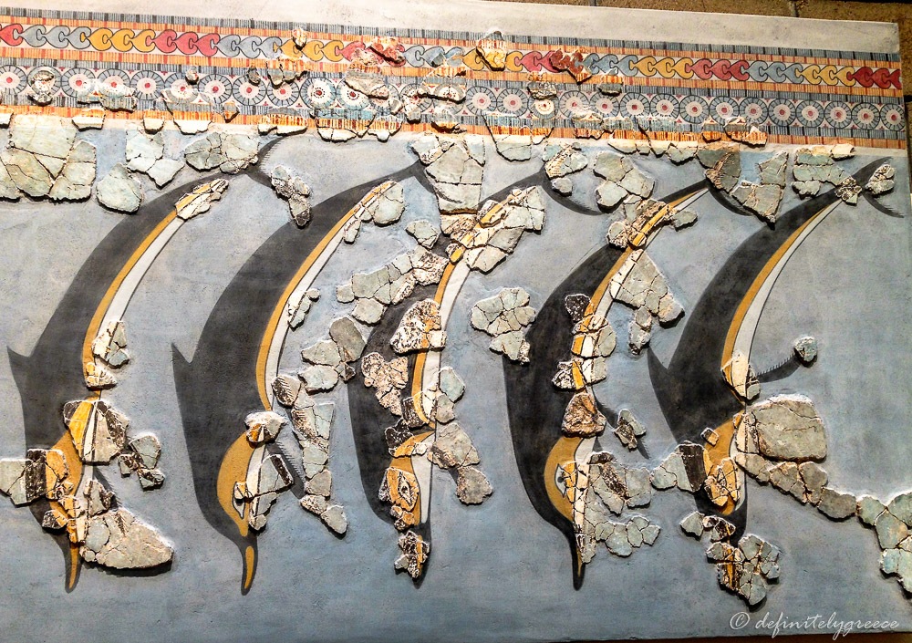 Hercules Thebes Mosaic Fresco Mycenean Dolphins Museum in Greece Holiday