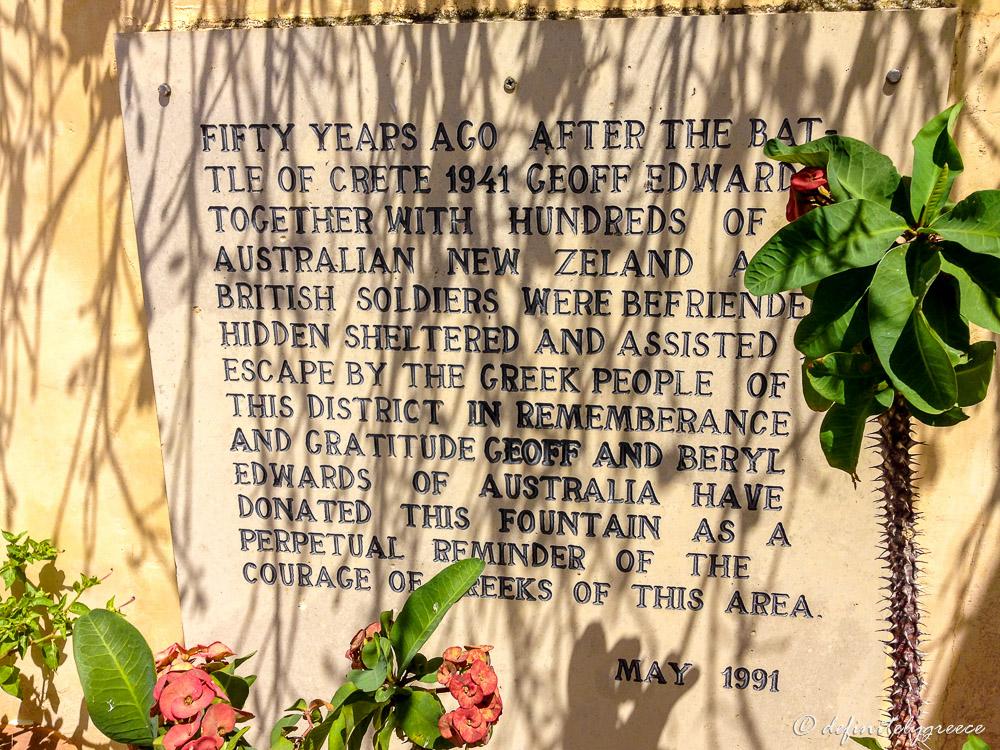 Inscription in Monument ANZAC Crete Island