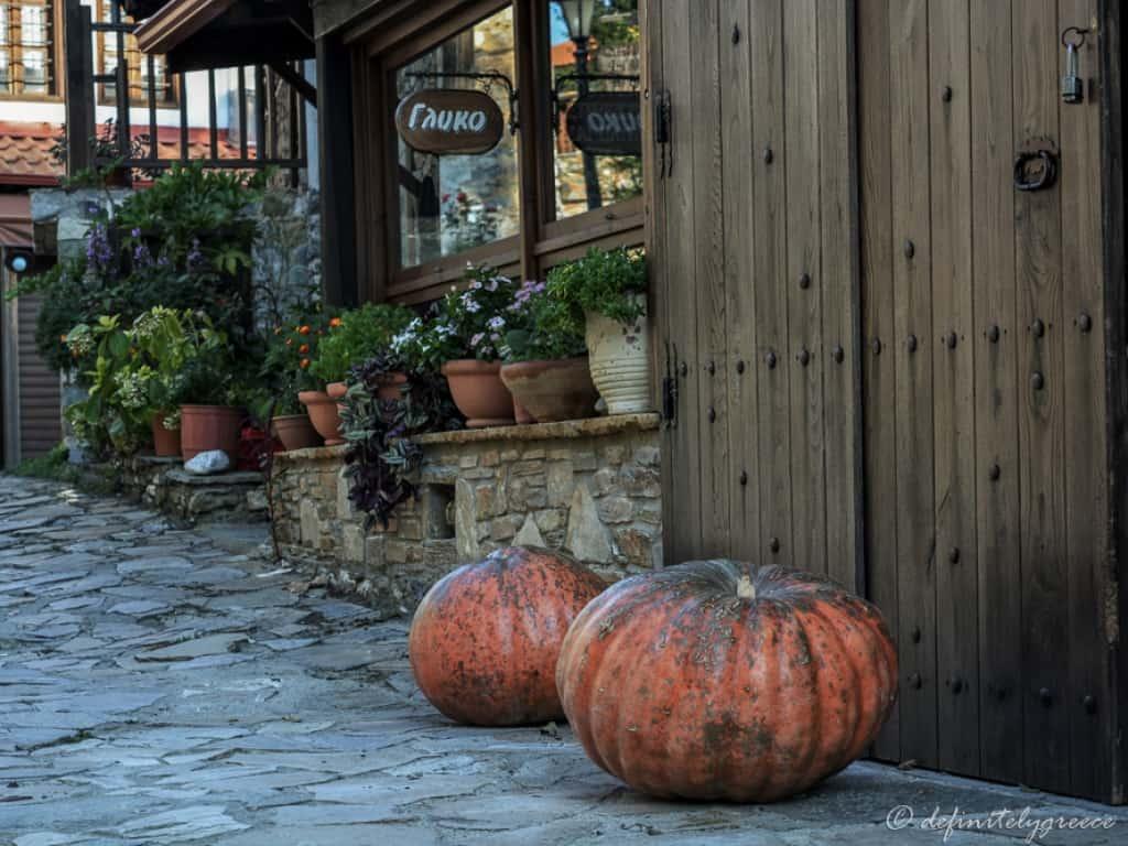 Old Panteleimonas Village Northern Greece Pumpkins
