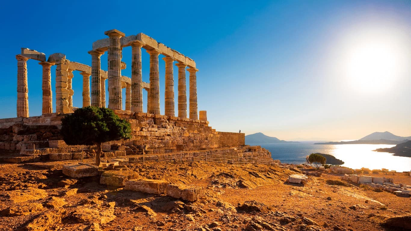 Temple of Poseidon in Sounio Athens Greece - Sunset
