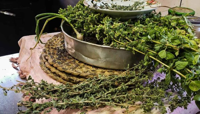 Taverna in Crete Island Greece Herbs and Spices