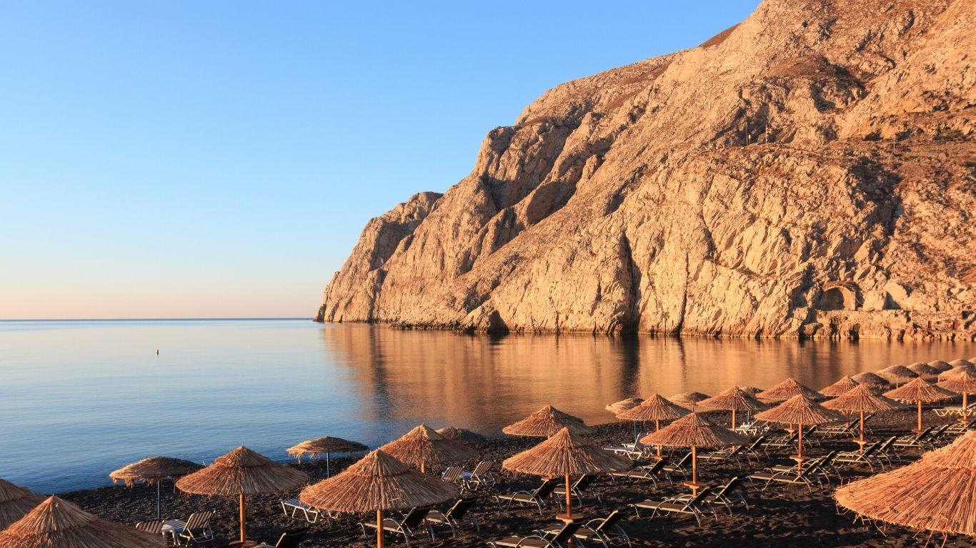 Kamari Beach Santorini Island Greece