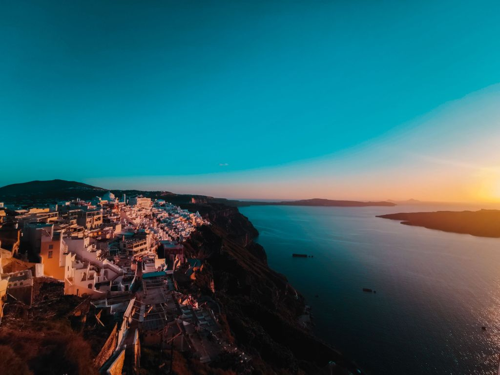 Santorini Winter View Sunset