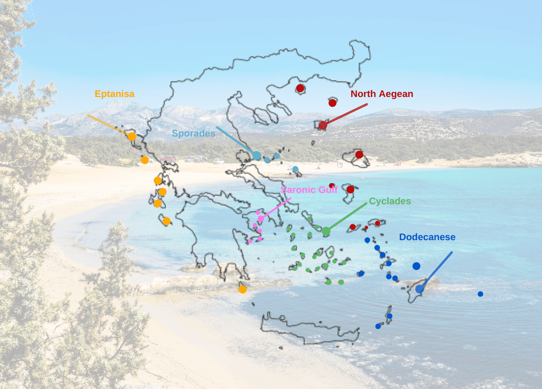 Greek Island Groups - Map